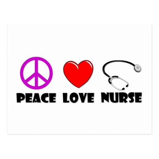Peace Love Nurse Post Card