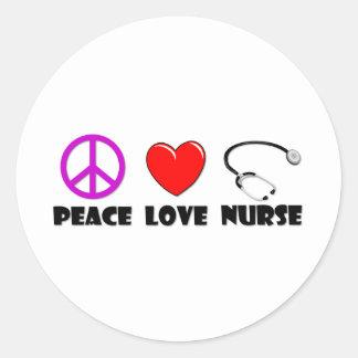 Peace Love Nurse Round Stickers