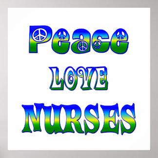 Peace Love Nurses Poster