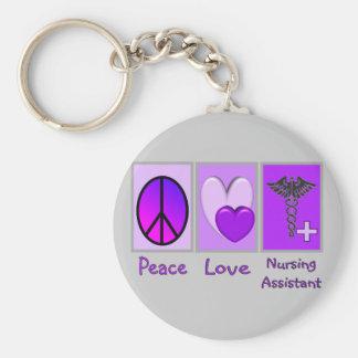 Peace Love Nursing Assistant Key Ring