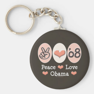 Peace Love Obama 08 Key Chain