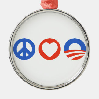 Peace Love Obama Christmas Ornament