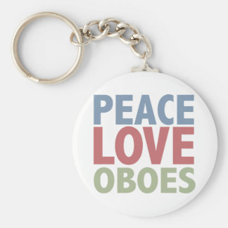 Peace Love Oboes Basic Round Button Key Ring