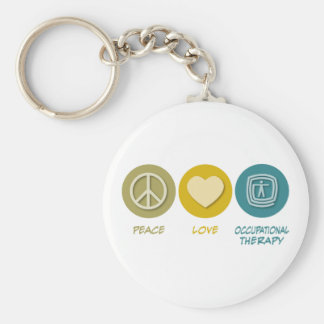 Peace Love Occupational Therapy Basic Round Button Key Ring
