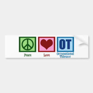 Peace Love Occupational Therapy Bumper Sticker