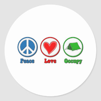 Peace Love Occupy Classic Round Sticker