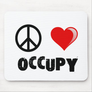 PEACE LOVE OCCUPY MOUSEPAD