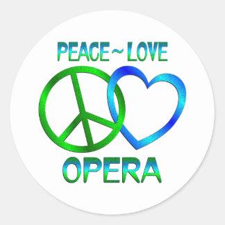 Peace Love OPERA Classic Round Sticker