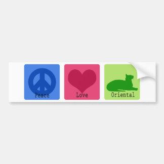 Peace Love Oriental Bumper Sticker