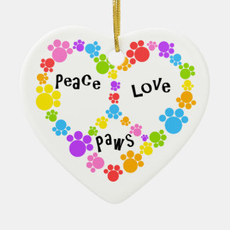 peace & love ornament! Paw print peace sign! Christmas Ornament