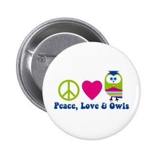 Peace, Love, Owls 6 Cm Round Badge