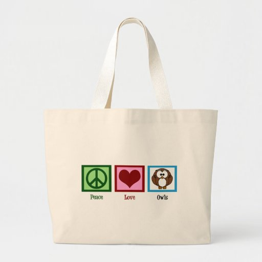 Peace Love Owls Canvas Bags