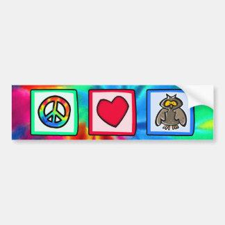Peace, Love, Owls Bumper Stickers