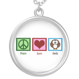 Peace Love Owls Silver Plated Necklace