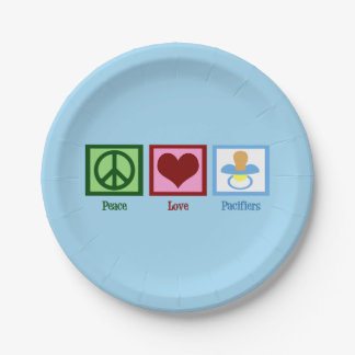 Peace Love Pacifiers Paper Plate