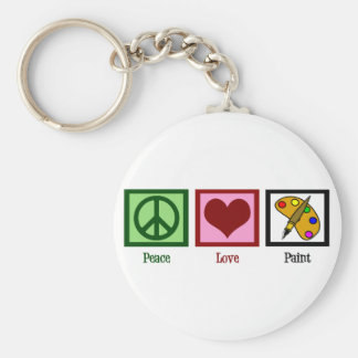 Peace Love Paint Basic Round Button Key Ring