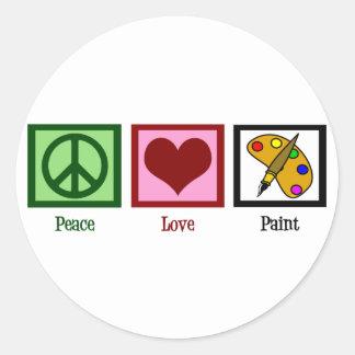 Peace Love Paint Round Sticker