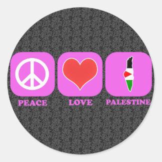 Peace Love Palestine Round Sticker