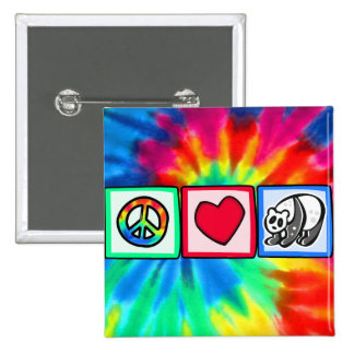 Peace, Love, Pandas 15 Cm Square Badge