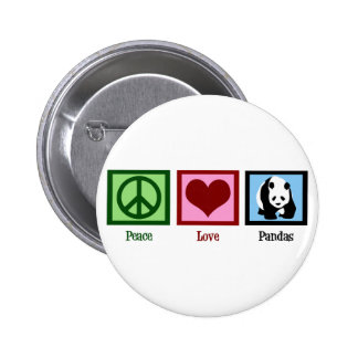 Peace Love Pandas 6 Cm Round Badge