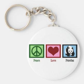 Peace Love Pandas Basic Round Button Key Ring
