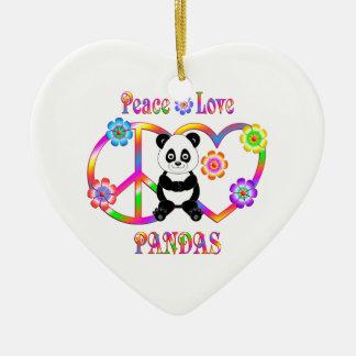 Peace Love Pandas Ceramic Heart Decoration