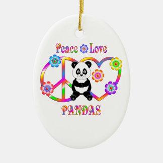 Peace Love Pandas Ceramic Oval Decoration