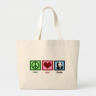 Peace Love Pandas Large Tote Bag