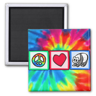 Peace, Love, Pandas Square Magnet