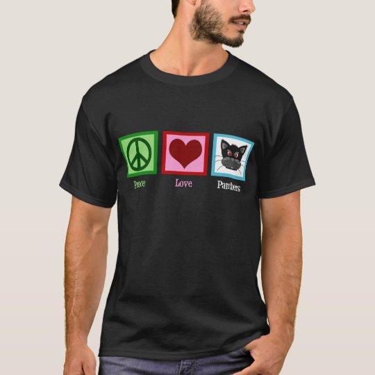 Peace Love Panthers Black T-Shirt
