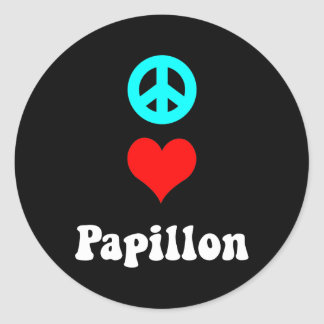 Peace love Papillon Classic Round Sticker
