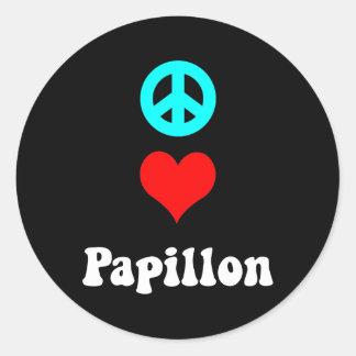 Peace love Papillon Round Sticker