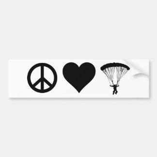 Peace Love Parachuting Bumper Sticker
