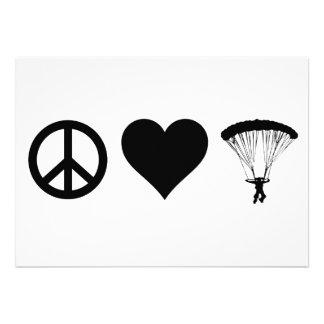 Peace Love Parachuting Invitations