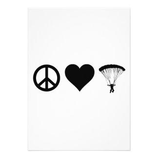 Peace Love Parachuting Personalized Invitation