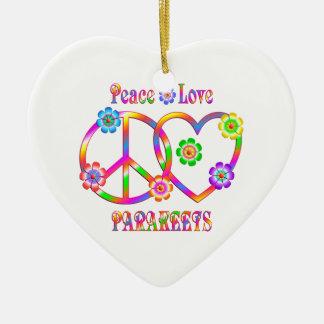 Peace Love Parakeets Ceramic Heart Decoration