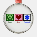 Peace Love Paramedic Silver-Colored Round Decoration