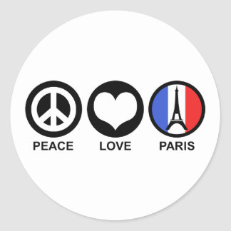 Peace Love Paris Classic Round Sticker