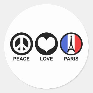 Peace Love Paris Round Sticker