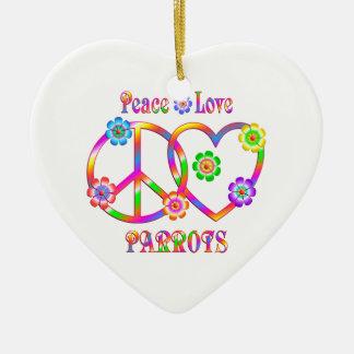Peace Love Parrots Ceramic Heart Decoration