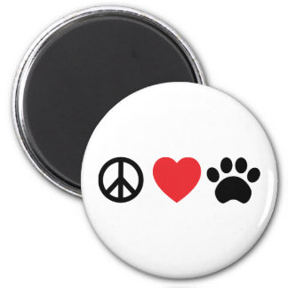 Peace Love Paw 6 Cm Round Magnet