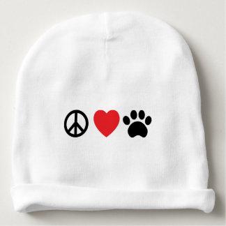 Peace Love Paw Baby Beanie