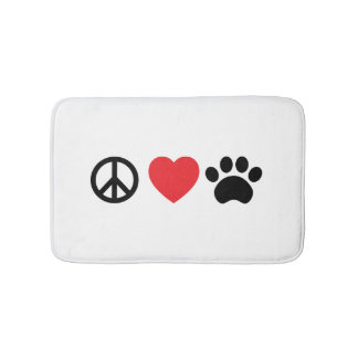 Peace, Love, Paw Bath Mat