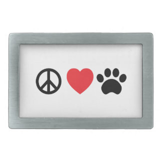 Peace, Love, Paw Belt Buckle