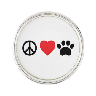 Peace, Love, Paw Lapel Pin