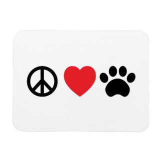 Peace Love Paw Rectangular Photo Magnet