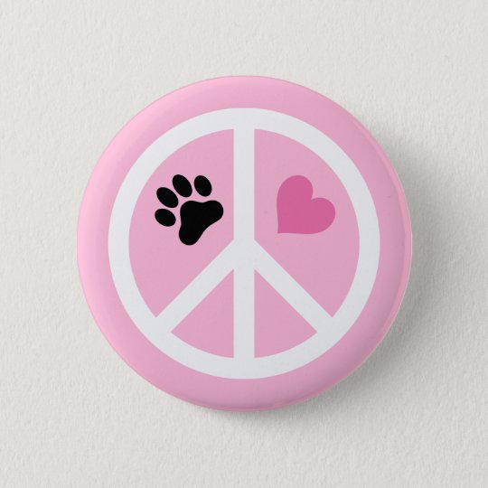 Peace, Love & Paws 6 Cm Round Badge