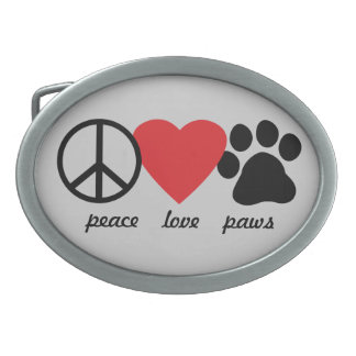 Peace Love Paws Belt Buckles