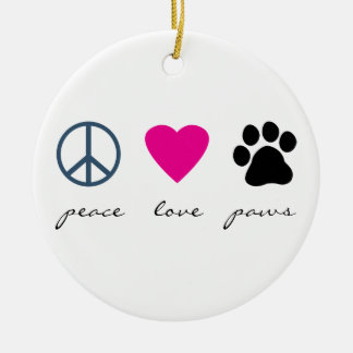 Peace Love Paws Christmas Ornament