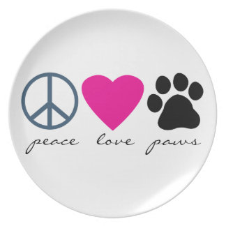 Peace Love Paws Dinner Plates